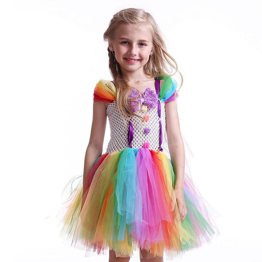 Girls Circus Fancy Clown Tutu Dress with Bow Children Handmade Rainbow Tulle (7)