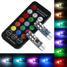 hot deal buy t10 w5w led car lights led bulbs rgb with remote control 194 168 501 strobe led lamp for car reading lights white red amber 12v