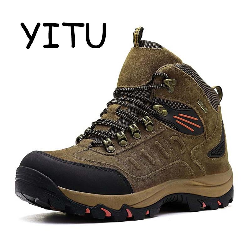 YITU 2018 Winter Outdoor Hiking Boots Waterproof Men s Trekking Hunting Shoes Leather Mountain Hiking Shoes