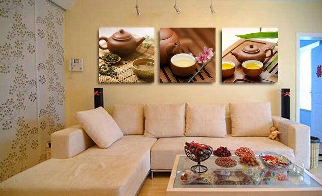 3 pezzi di tela stampe cina tè pittura della canapa arte parete per cucina  decorazione casa immagine stampa