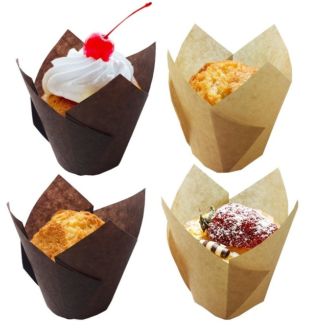 50 Pcs Set Christmas Baking Cake Cups Paper Proveided Tulip Shape