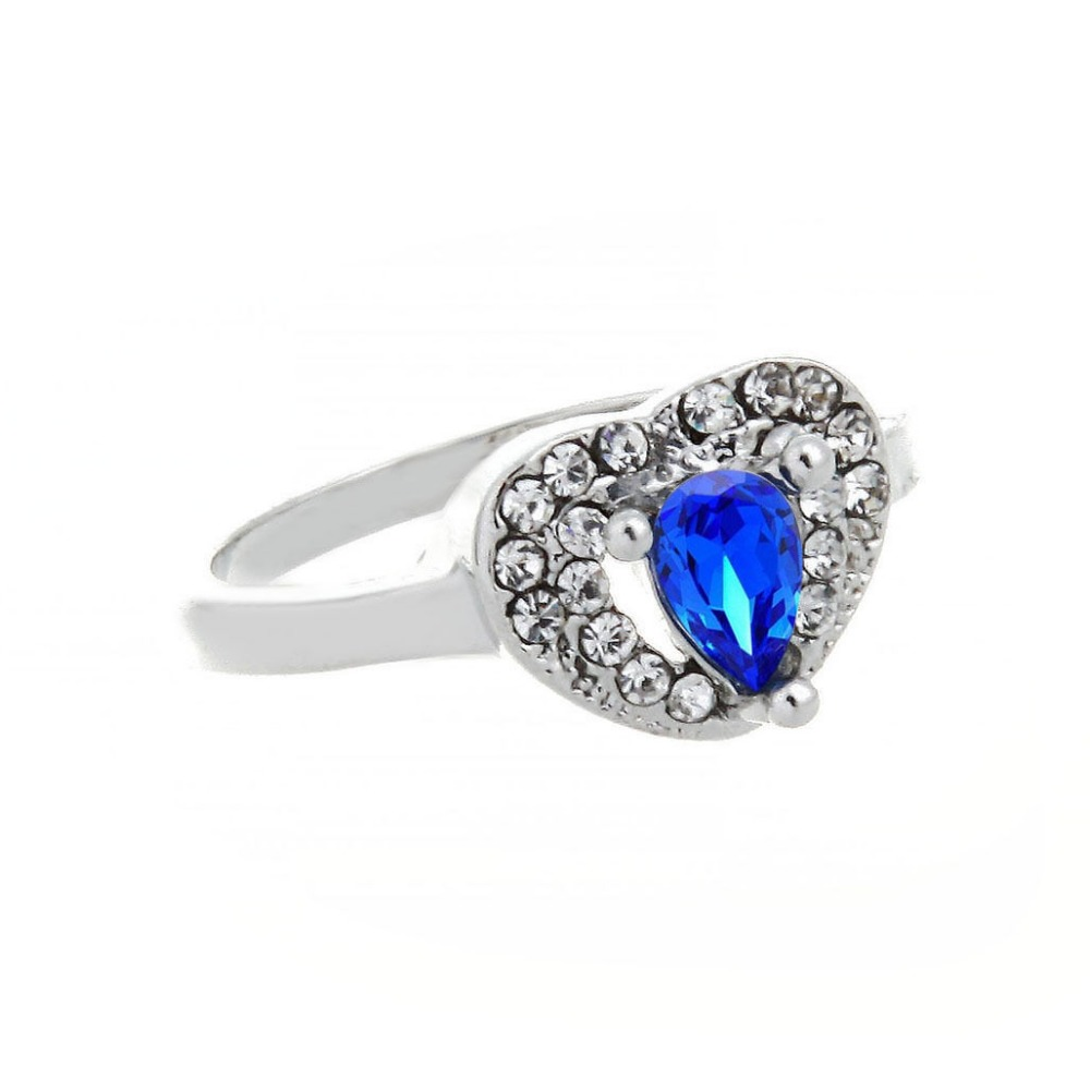 18K White Gold Plated Heart-shape Sapphire Blue Crystal Charm Ring CZ Rhinestone