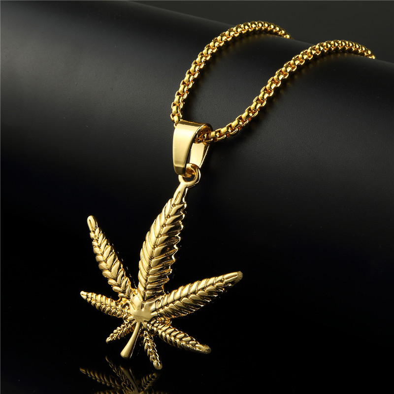 75cm Bling Jewelry Gifts Men Women Charm <font><b>Cannabiss</b></font> Hemp Leaf Chains Golden DJ Bar Dance Hip Hop Necklaces Pendants image
