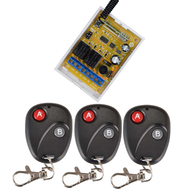 DC 12V 24V RF Wireless Remote Control Light Switch 433Mhz 2 Channel Relay Receiver With 3PCS Black Transmitter 315 433mhz 12v 2ch remote control light on off switch 3transmitter 1receiver momentary toggle latched with relay indicator