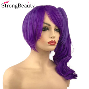 Image 3 - StrongBeauty Dark Ombre Purple Wavy Wigs with Clip Ponytail Synthetic Cosplay Wig Women Hair