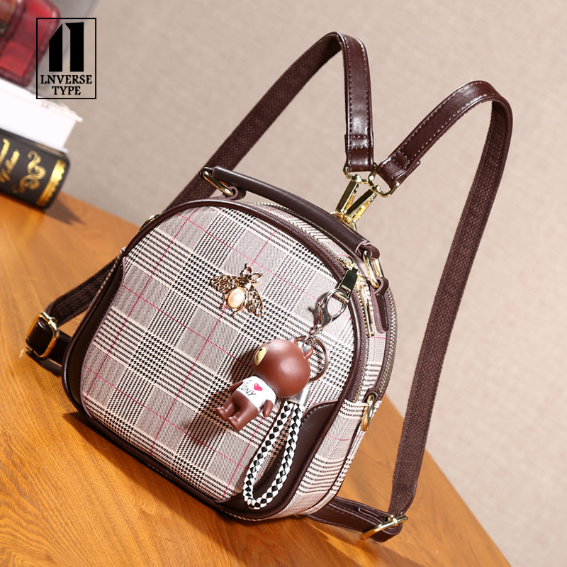 New Designer Fashion Women Backpack Mini Soft Touch Multi-Function Small Lattice Element Backpack Female Ladies Shoulder BagGirl