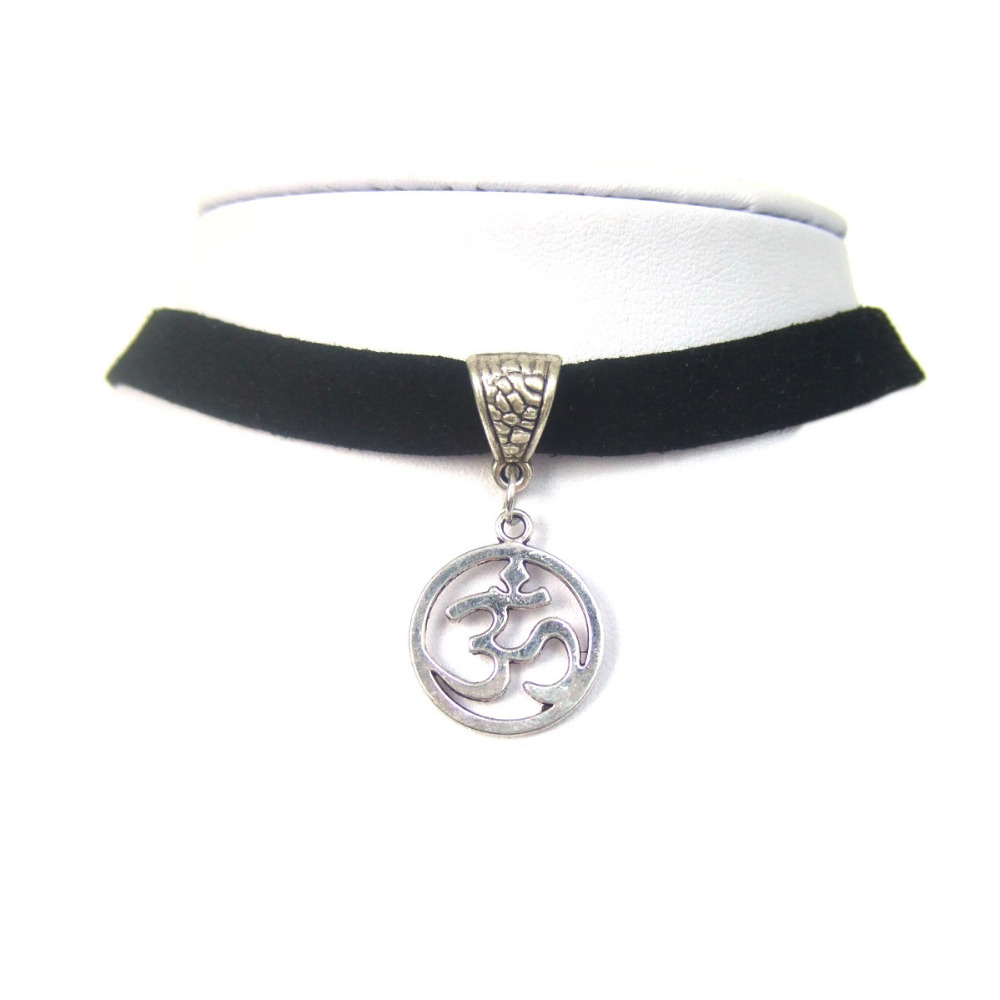 Black 10mm Flat Faux Suede Cord OM OHM AUM Symbol Yoga Charm 13 Choker Necklace 90s