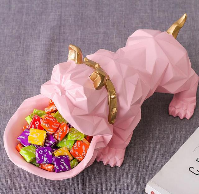 Nordic Lucky Dog Geometric Animal sculpture Ornament Decorations Coffee table candy dish Door shoe key storage items ornaments