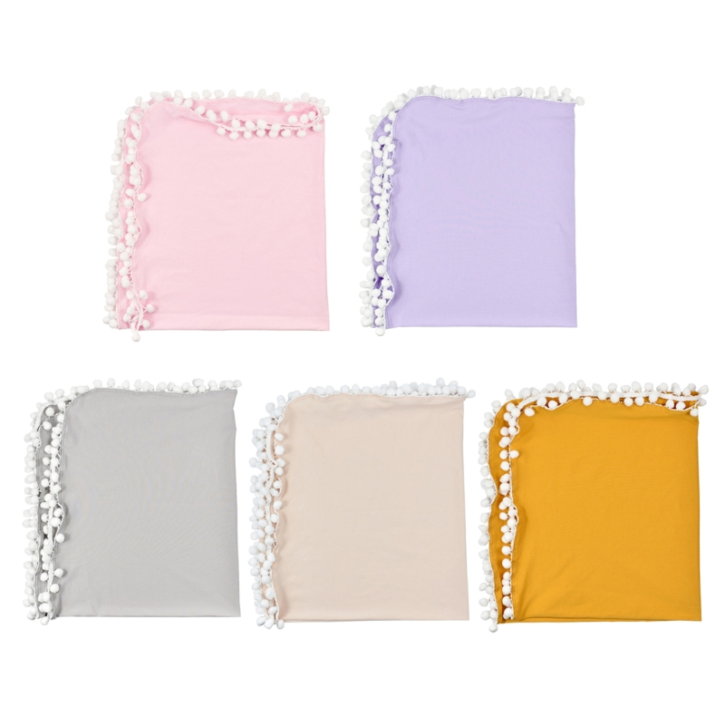 Baby Soft Muslin Swaddle Blankets Pom Pom Swaddle Wrap Newborn Photography Props