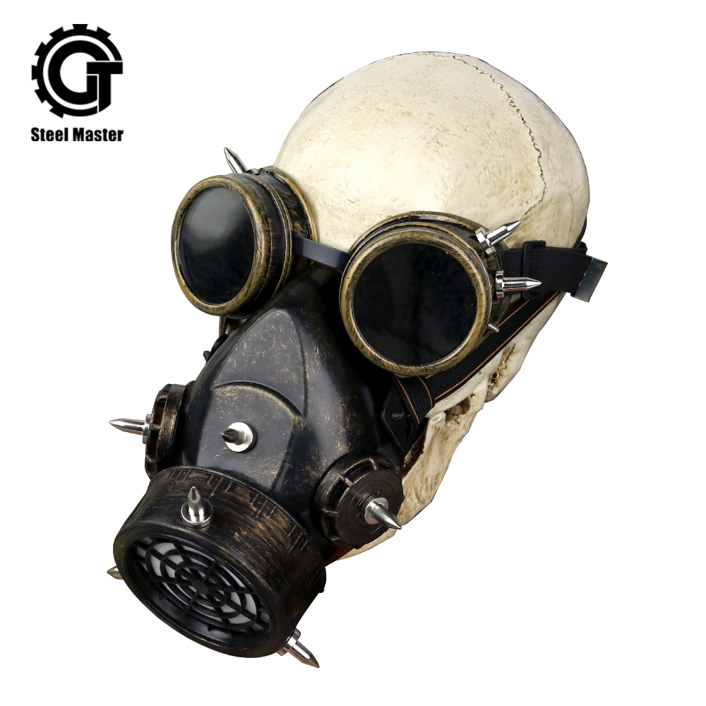 Men's Female Punk Military Goggles Gothic Punk Rock Glasses And Respirator Clothing Accessories Vintage Play Mask