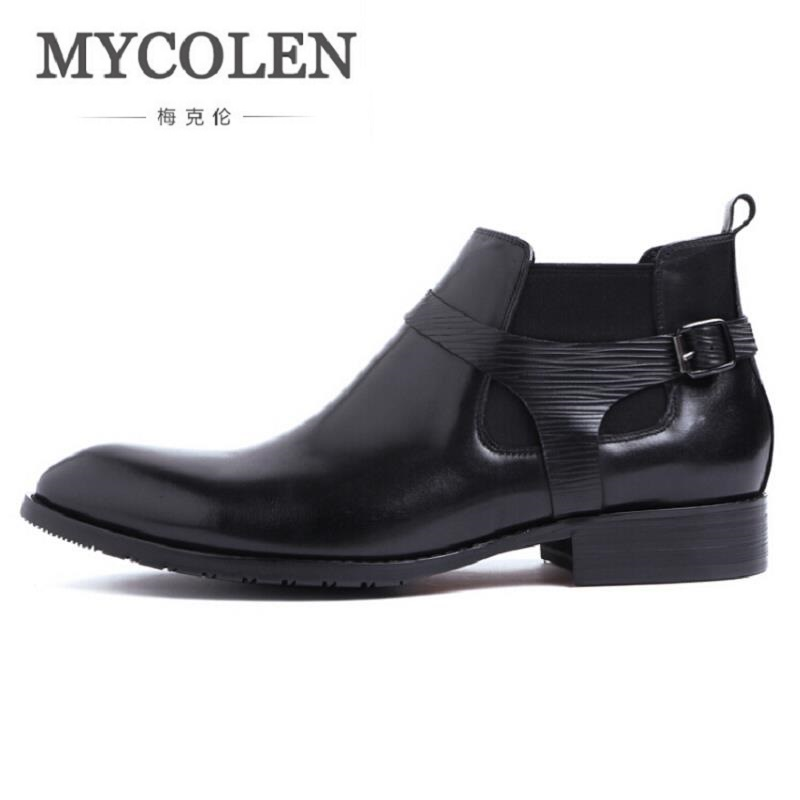 MYCOLEN Men Boots Cow Leather Men Ankle Boots Casual Top Quality Men Shoes British Style Winter Business Casual Shoes Black new british style real top cow leather boots qshoes mens business dress casual fashion men personalized round toe boot y97 663