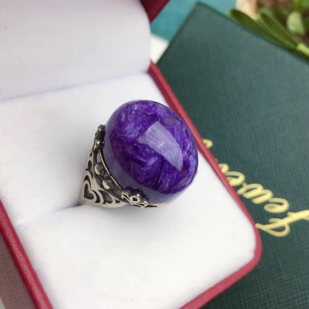 Adjustable Ring Natural Purple Charoite Stone Crystal Women Men Lucky Love Gift Jewelry 925 Silver 18x15mm Oval Beads Ring AAAAAAdjustable Ring Natural Purple Charoite Stone Crystal Women Men Lucky Love Gift Jewelry 925 Silver 18x15mm Oval Beads Ring AAAAA