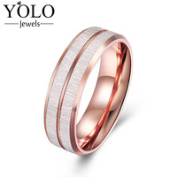 YOLO Jewels Stainless Steel Wedding Rings for Men Vintage Rose Gold Color Ring for Boy Love Gift Suitable for Engagement