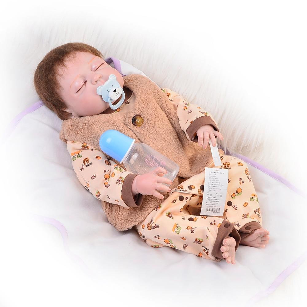 55 cm corps en Silicone Reborn bébé 22 pouces poupée jouet comme réel adorable garçon enfant en bas âge dormir playmates jouet cadeaux d'anniversaire