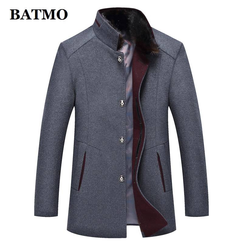 BATMO 2019 new arrival autumn&winter high quality wool fur collar casual trench coat men,men's wool jackets plus-size M-4XL 1786