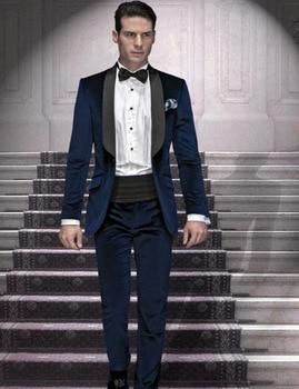 High Quality Dark Blue Velvet Mens Suits Groom Tuxedos Groomsmen Wedding Party Dinner Best Man Suits (Jacket+Pants+Tie) K:2334