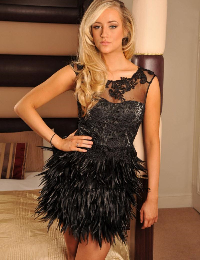 Popular Black Feathered Dresses-Buy Cheap Black Feathered Dresses ...