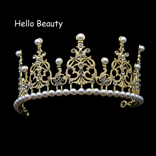 European Designer Vintage Gold Color Pearl Wedding Tiara Crown