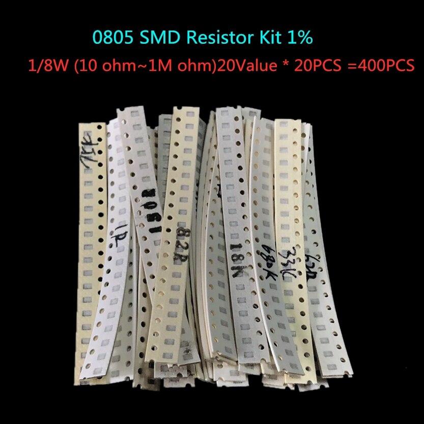 20Value * 20PCS =400PCS 0805 SMD Resistor Kit 1% 1/8W (10 Ohm~1M Ohm) Component Diy Samples Kit Free Shipping
