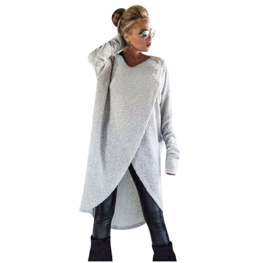 Asymmetrical Hem Design Hoodies Women Long Sleeve Solid Pullovers Hoodies O Neck Hoodies Long Sweatshirt moletom unissex EY11