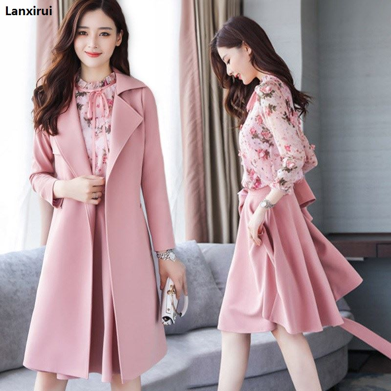 Winter Spring Women Floral Clothes 3 Pieces Set Women Woolen Coat Chiffon Shirt Skirt Three -Piece High Quality Office Suit