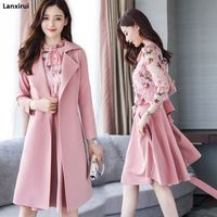 Winter Spring Women Floral Clothes 3 Pieces Set Women Woolen Coat Chiffon Shirt Skirt Three Piece High Quality Office Suit