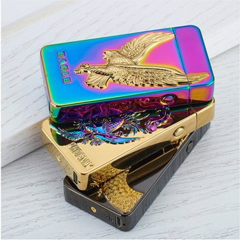 Newest Dradon Tiger eagle usb charging electric double arc plasma eletronic windproof lighters for smoker cigarettes cigar gifts 2