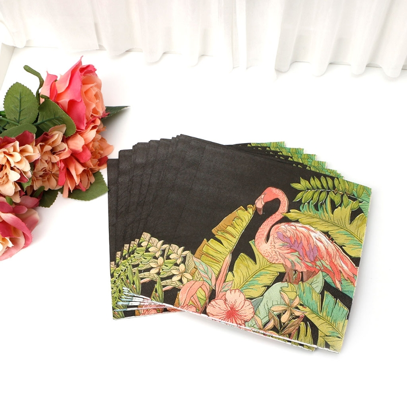 20pcs vintage flamingo printed facial tissue table paper napkins decoupage vintage wedding birthday party decoration