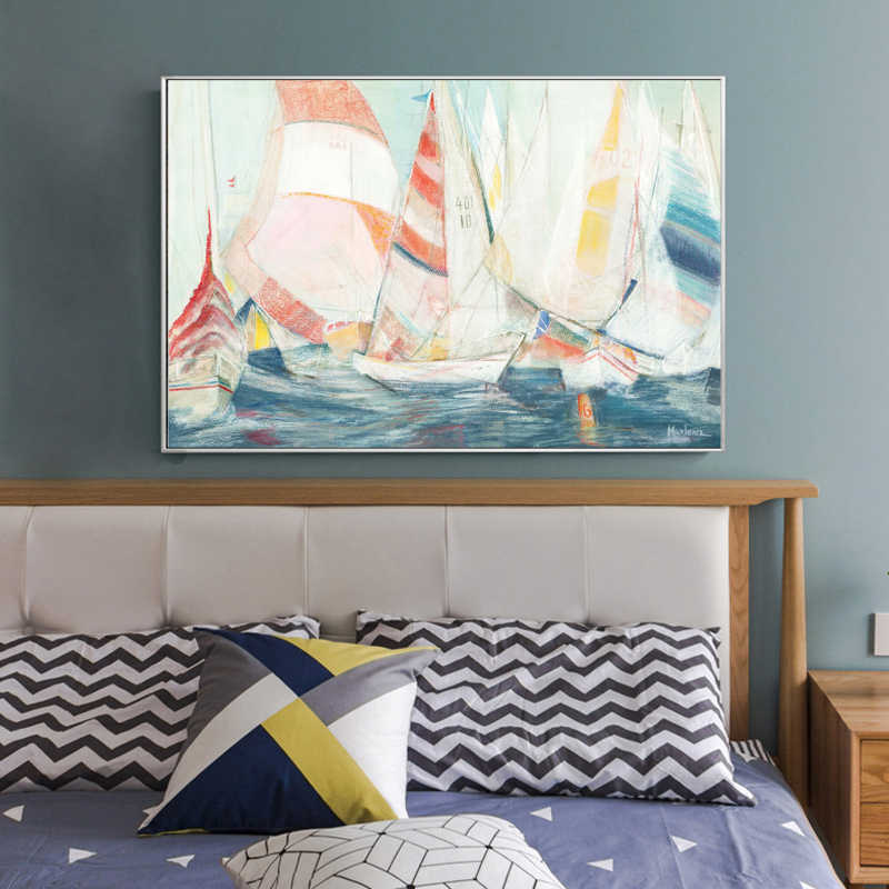Modern Abstract Art Posters and Prints Wall Art Canvas Painting Watercolor Sailboat Decorative Pictures for Living Room No Frame