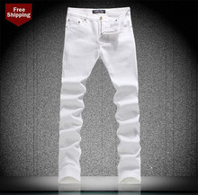 NEW 2015 Fashion Pants Jean Mens White Cotton Slim Fit Jeans Men Pencil Pants New Hot Straight Trousers 28-36