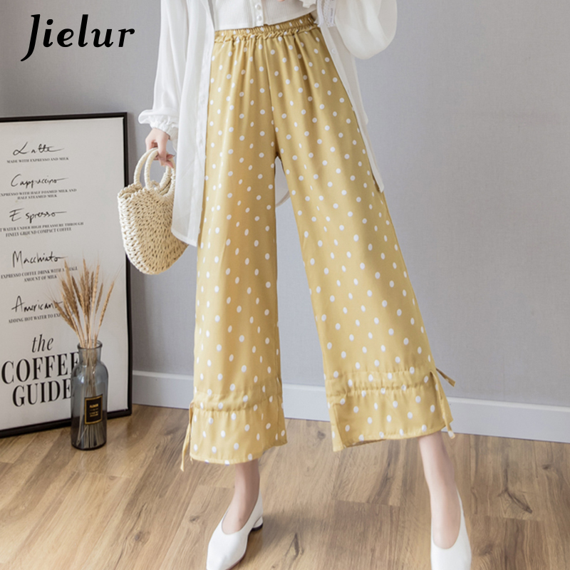 Jielur Polka-dot   Wide     Leg     Pants   Casual High Waist Women   Pants   Black White Yellow Green Blue Summer Trousers Women S-XXL