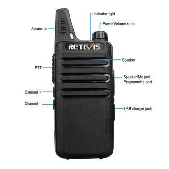 2pcs Mini Walkie Talkie Retevis RT22 2W UHF CTCSS/DCS TOT VOX Scan Squelch Two Way Radio Communicator Ham Radio Hf Transceiver 1