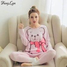 FL061C 2018 New Korean Cartoon Lingerie Pajamas Pyjamas Women Pyama Woman Pijama Mujer Pizama Pigiama Donna Sleepwear Night Suit