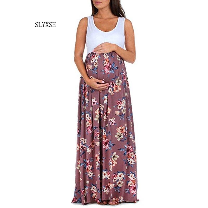 SLYXSH New fashion Maternity Dresses Flowers Maternity Photography Props Off Shoulders Pregnant Dress Pregnancy Photo Shoot