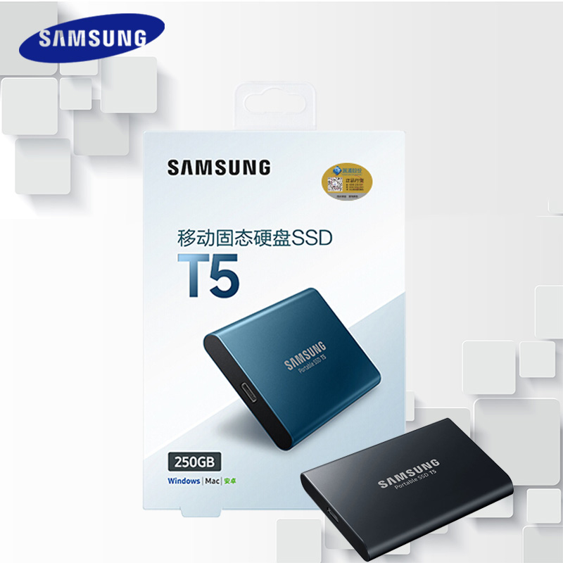 Samsung Т5 внешний SSD 2Т 1Т 500 ГБ 250 ГБ внешний твердотельный HD Жесткий диск USB 3.1 2-го поколения (10 Гбит / с) и совместим телефона
