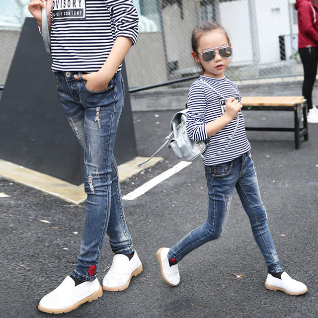 Kids Jeans Wear Skinny Jeans Baby Girl Winter Autumn Long Pant Button Fly  Fashion Denim trouser cd9b2bd4c