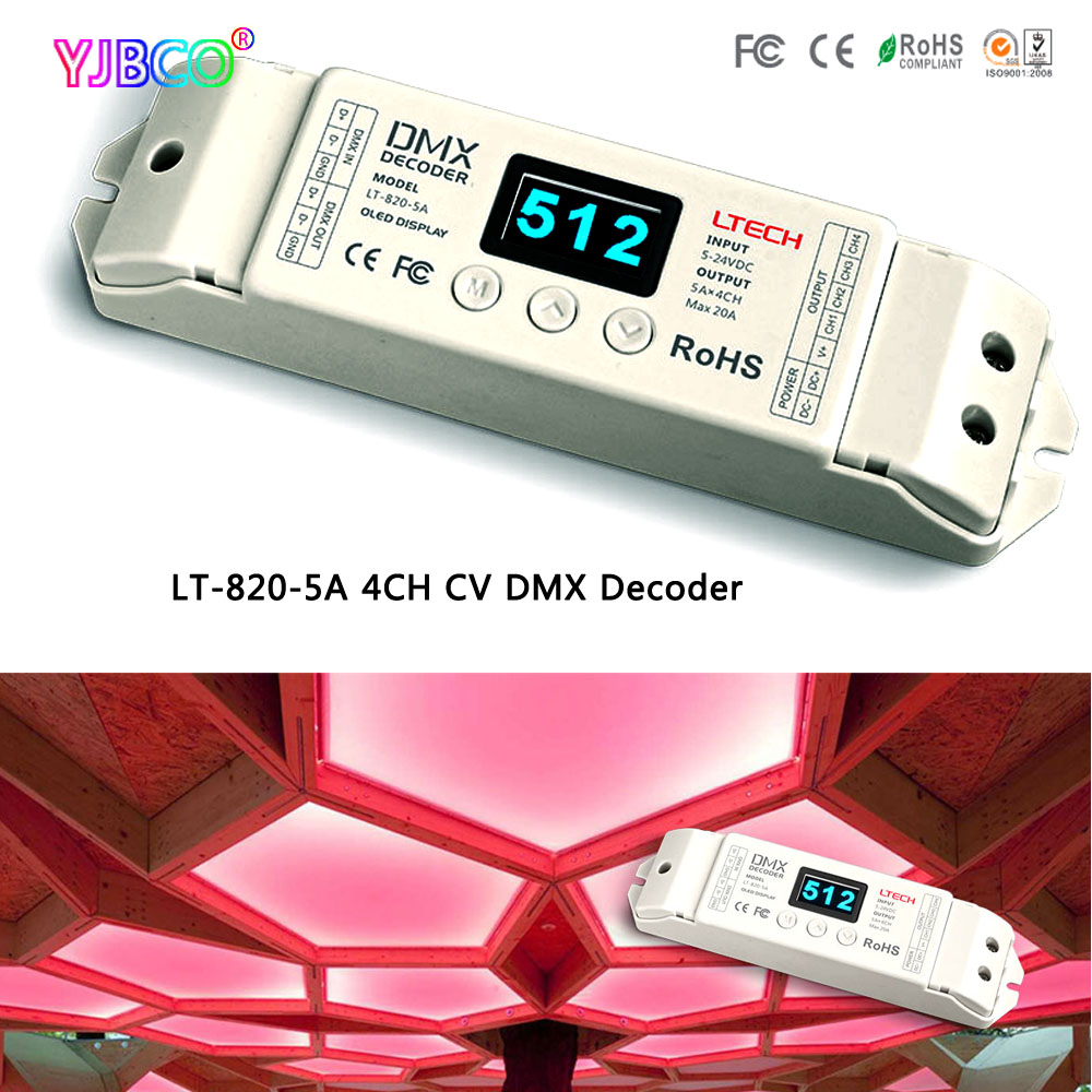 LED constant voltage DMX-PWM Decoder Dimmer LT-820-5A 8/16 bits optional,OLED Display 4channel;5A*4channel MAX 20A output 350ma constant current 12ch dmx dimmer 12 channel dmx 512 dimmer drive led dmx512 decoder rj45 xrl 3p