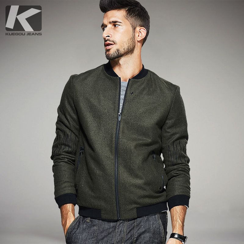 KUEGOU New Autumn Mens Wool Coats And Jackets Patchwork Green Color Brand Clothing For Man's Slim Zipper Clothes Male Tops 0676