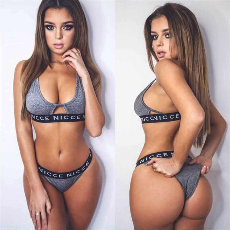 4802cbec098fe ... 2018 Brand Sport Sets Underwear Set Lingerie Women Sexy Push Up Bra and Panties  Set NICCE ...