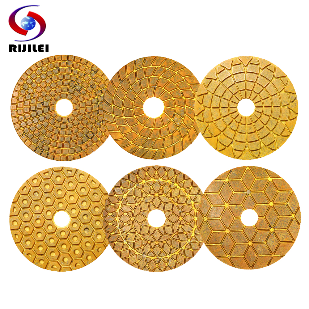 6PCS/Set 4inch Super Diamond Polishing Pads 100mm Copper Metal Bond Wet Polishing Pad For Marble Granite Stone Fast Grinding