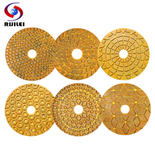 6PCS/Set 4inch Super Diamond polishing pads 100mm copper metal bond wet pad for marble granite stone fast grinding