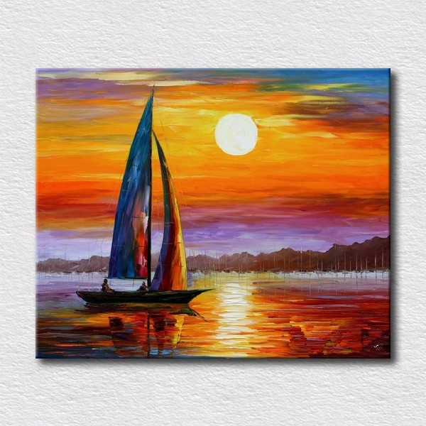 modern oli painting of sea boat home decoration canvas