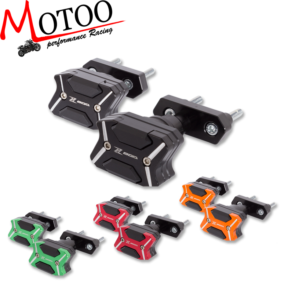 Motoo -2017 NEW CNC Aluminum  Left and Right Motorcycle Frame Slider Anti Crash pads Protector For  KAWASAKI Z800 2013-2015 motorcycle cnc aluminum frame sliders crash pads protector suitable for kawasaki z800 2012 2013 2014 2015 2016 green