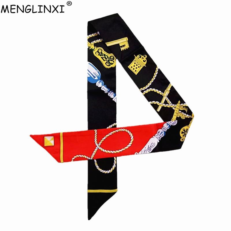 Key Chain Print Skinny Silk Scarf 2019 New Luxury Brand Bag Scarf For Women Head Scarf Long Handle Bag Scarves Wraps