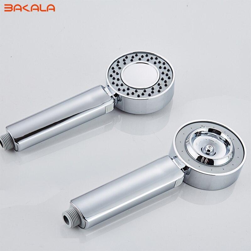 Dwustronna podwójna funkcja głowica prysznicowa oszczędzanie wody okrągły ABS Chrome Booster wanna prysznicowa wysokociśnieniowa ręczna rączka prysznica