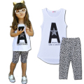 2-7 Girls Clothes 2016 Girls Summer Shirt+Leopard Pants Baby Girls Clothes Sets Causal Kids Fashion Clothing c20