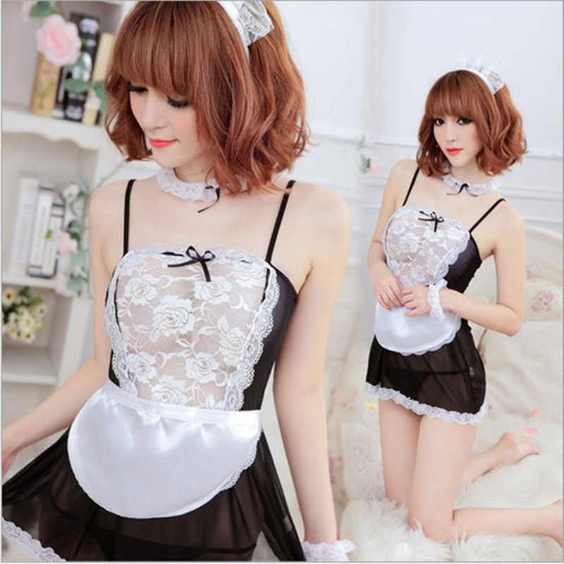 Buy Sexy lingerie sexy underwear lovely Female Maid classical Lace sexy miniskirt lolita maid outfit sexy costume Hottest