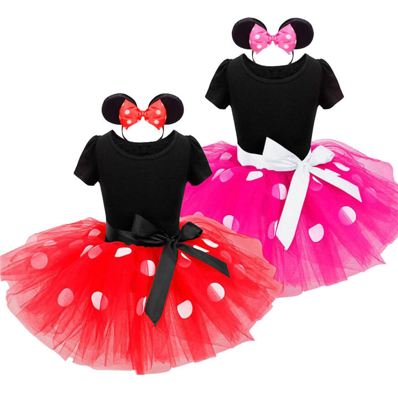 New Girl Minnie Mouse Dress for Cosplay Costume Sleeveless Summer Mesh Tutu Dress Headband Girl Polka Dot Clothing