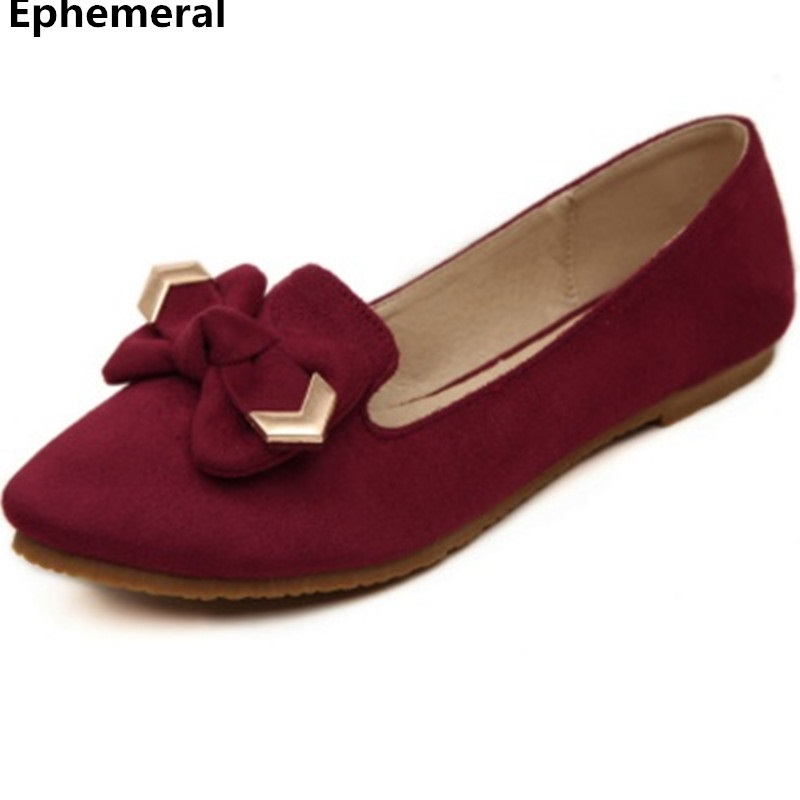 Ladies Casual Shoes With Bow Flats Soft sole Breathable Loafers Spring Slip-Ons Pointed Toe Red Black Blue Plus Size 48 34 46 45 cootelili 36 40 plus size spring casual flats women shoes solid slip on ladies loafers butterfly knot pointed toe soft shoes