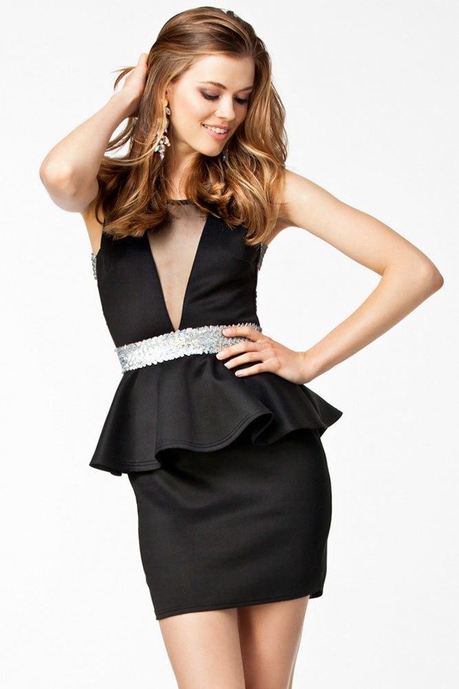 short halter top dresses Little Black dress Deep V Mesh Insert Sequin Back  Mini Peplum Dress vestidos de fiesta cortos LC21030-in Dresses from Women s  ... 904009a98